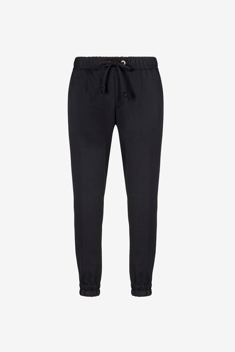 Casual dress pants in black, with welt back pockets. The waist has a stretch drawstring waistband, and ankle stretch cuffs.