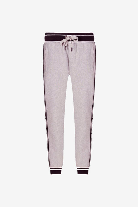 Sweatpants in grey with jacquard waistband and logo-band down along side.