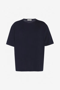Short sleeve t-shirt in dark navy, made from heavyweight cotton and cashmere, in a oversized shape.
