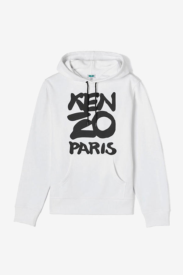 Kenzo Sweatshirt in white with black logo print at front
