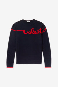 dark blue sweater with red Valentino logo