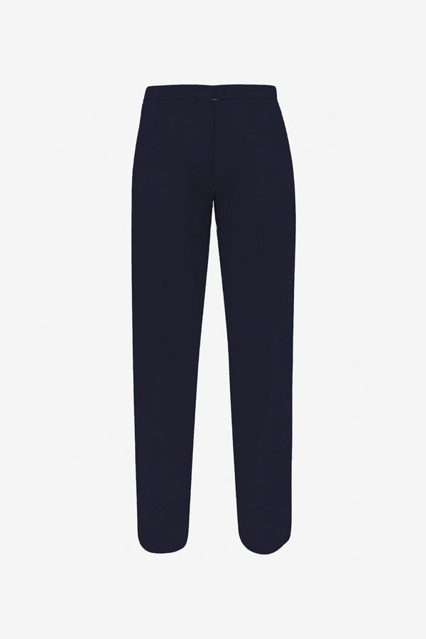 Dark blue straight leg pants in heavy wool