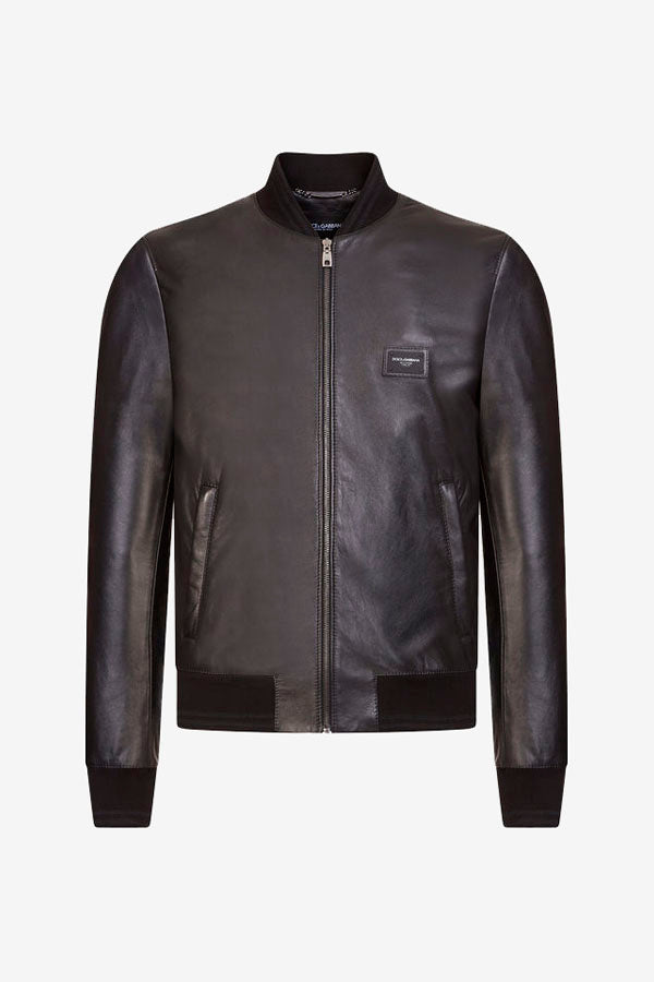 Leather jacket in black with zipper fastening and knit hem, cuff and neck.