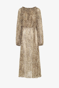 Rotate Birger Christensen long chiffon dress snake python print off shoulder