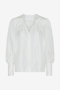 Shirt with balloon sleeves and discrete ruffles