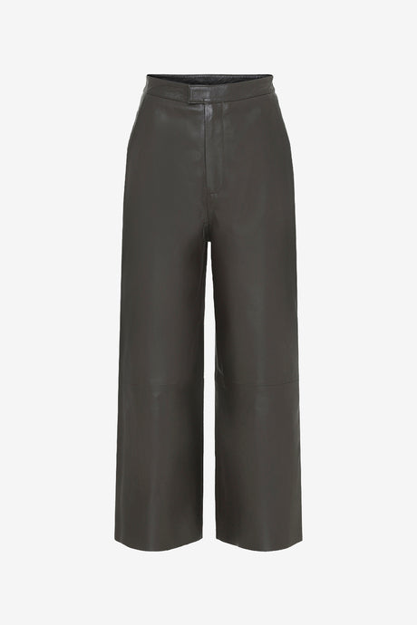 Boxy cropped leather pants with high waist