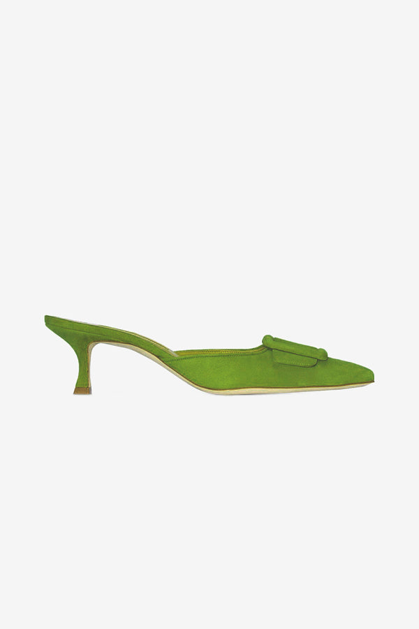 Manolo Blahnik Bright Green Maysale mules with 5 cm heel