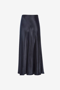 Medela Skirt from The Row, a classic midi skirt in lustrous satin