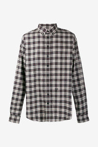Long sleeve shirt in a military check, button-down collar and a small metal brand badge on the front.