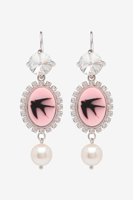 Miu Miu Crystal Earrings Rose Cream