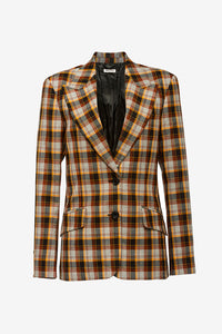 Oversized checked brown wool blazer from Miu Miu