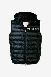 Moncler Men's mens padded hooded gilet black vest