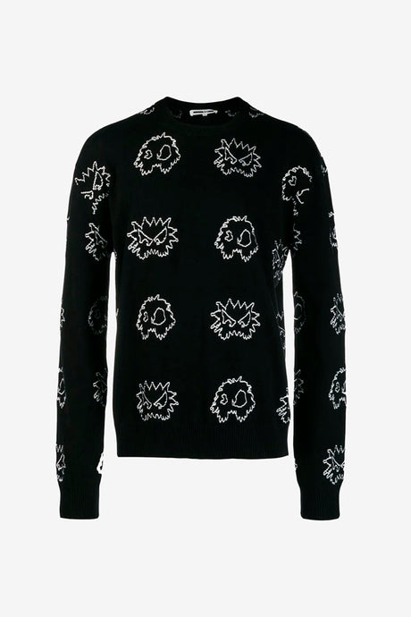 Jumper in black cotton, with McQ monster graphics in white covering the entire jumper. Ribbed crewneck, cuff and hem.