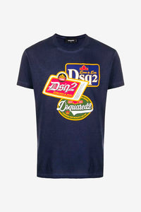 Short sleeve t-shirt in a navy cotton with patch print on the front.