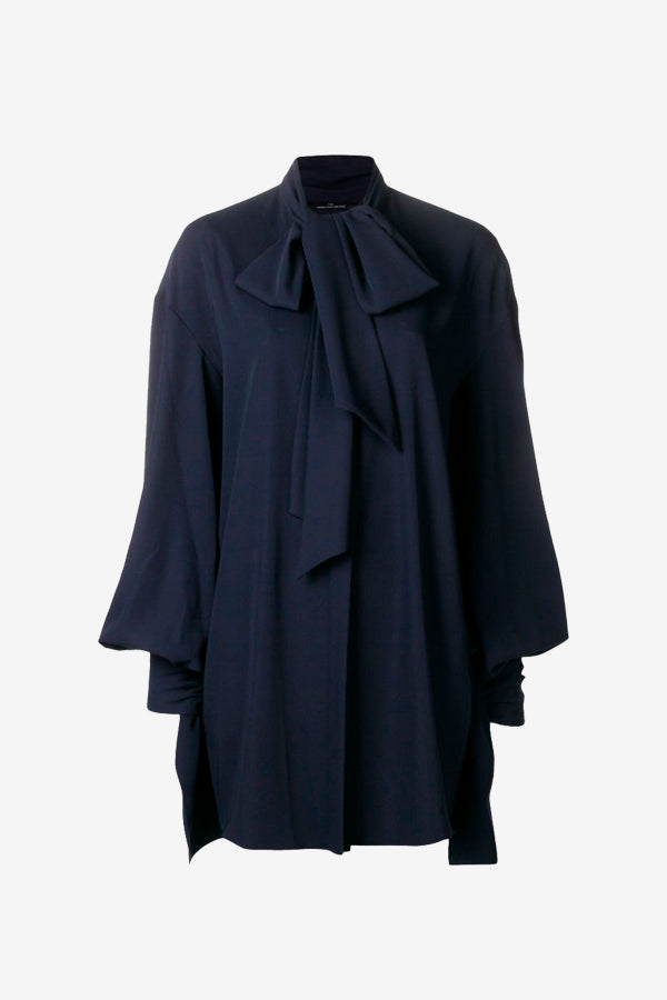 Draped tie blouse bell sleeves navy