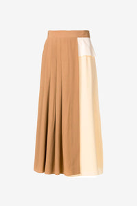 Trio of skirts with pleats camel
