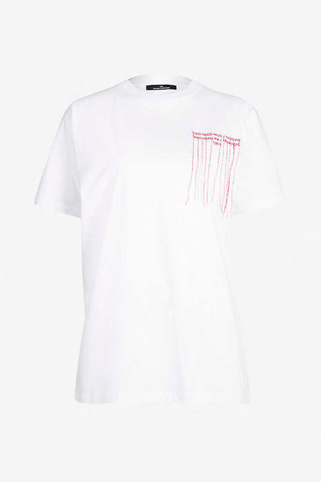 White t-shirt with red embroidery