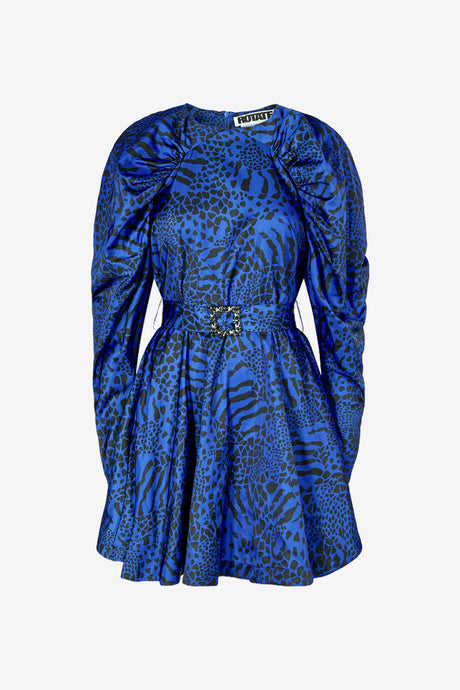 Short shiny blue dress with puffed shoulders and long sleeves and waist belt with stones