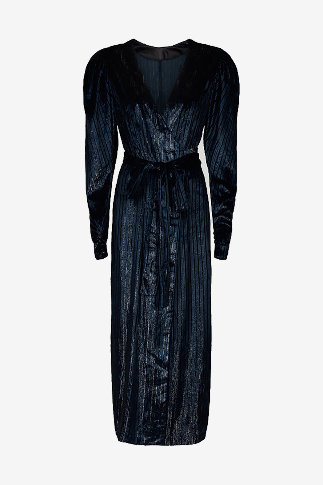 Long dark blue velvet dress with long sleeves