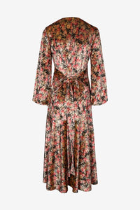 Long wrap dress in flower print with long sleeves