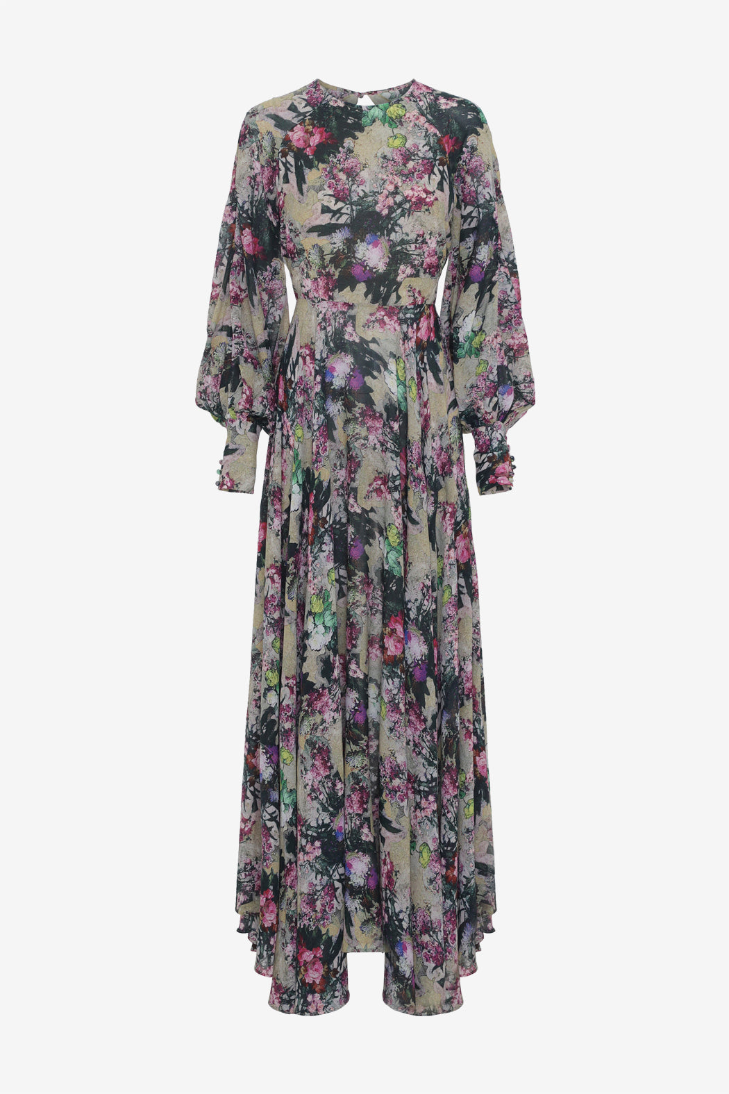Flower printed dress with cuffs puffy sleeves and a asymmetrical skirt