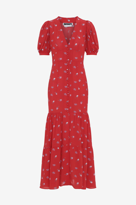 Long fitted dress with draped details short sleeves red