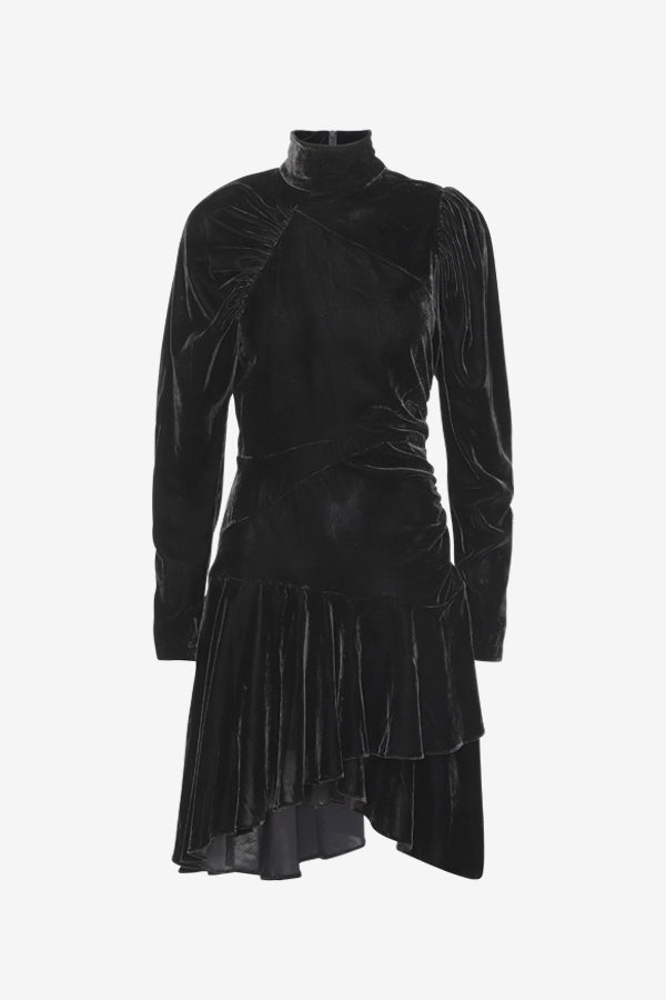 Black velvet dress with long sleeves, high collar and asymmetrical silhouette