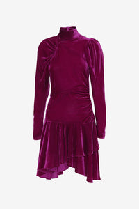 Fuchsia velvet dress with long sleeves, high collar and asymmetrical silhouette