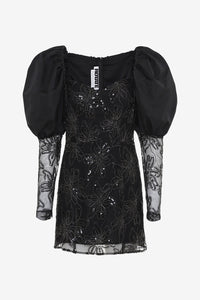 Sheer dress with sequins puffy sleeves black