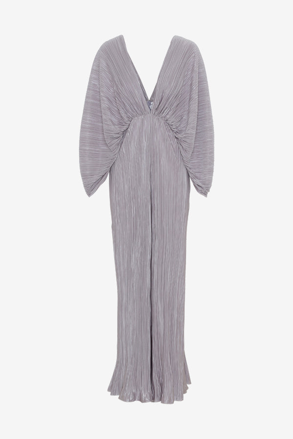 Raindrop grey dress in a jumpsuit silhouette, with long sleeves, draped details and, a deep v-cut back and front.