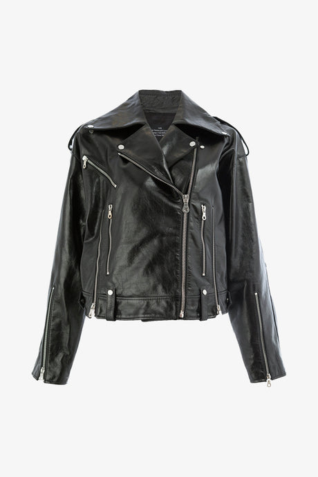Rokh biker jacket leather black