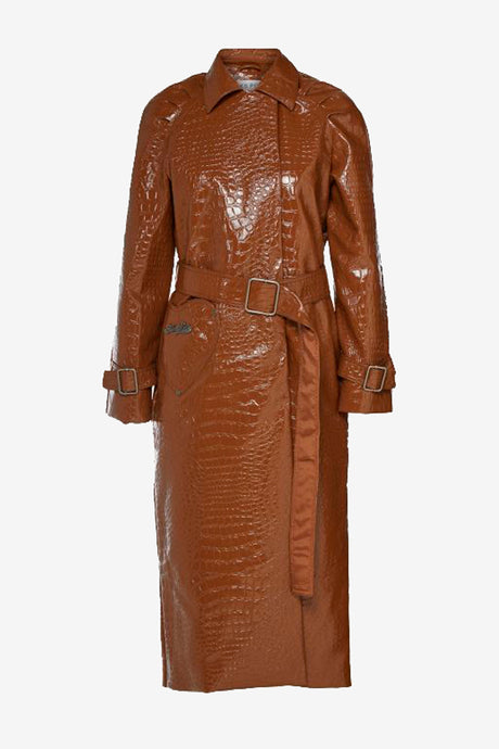 Calinete Coat from Saks Potts in brown vegan leather