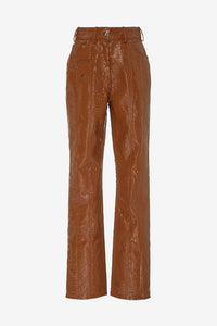 Latin Pants from Saks Potts in brown vegan leather
