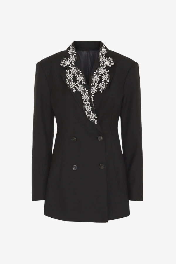 Rotate Birger Christensen black blazer with stones at lapel