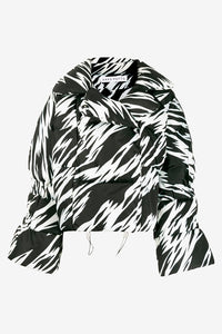 Oversized down jacket in black and white zebra print