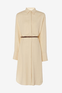 Sonia Dress from The Row, shirtdress in fluid herringbone-patterned viscose