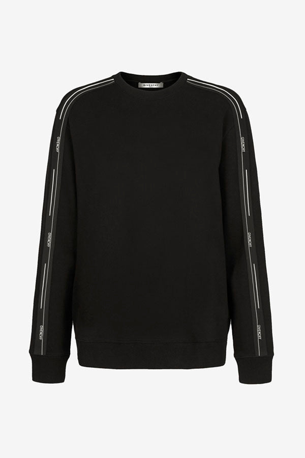 Crewneck sweatshirt in black with GIVENCHY branding down along the sleeves in black and white. It has a rib-knit crew neck, cuff and hem.