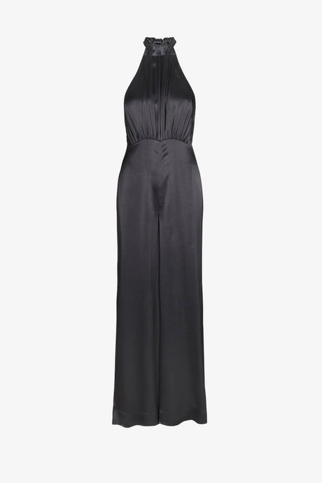 Rotate Birger Christensen Black halterneck jumpsuit satin