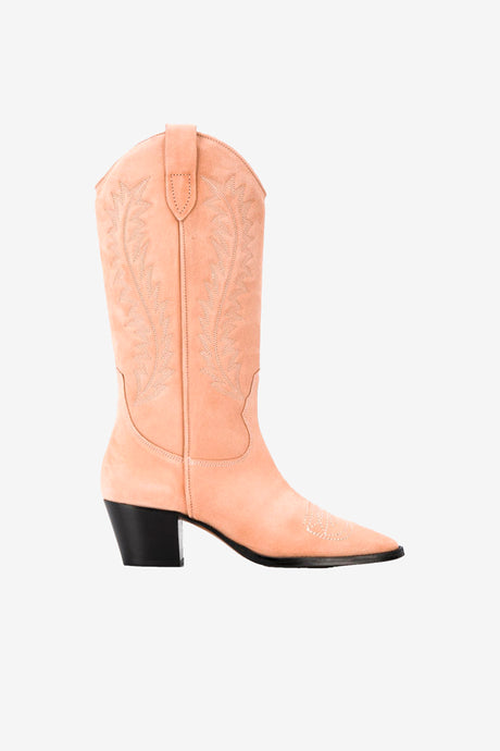 Suede cowboy boot with chunky heel
