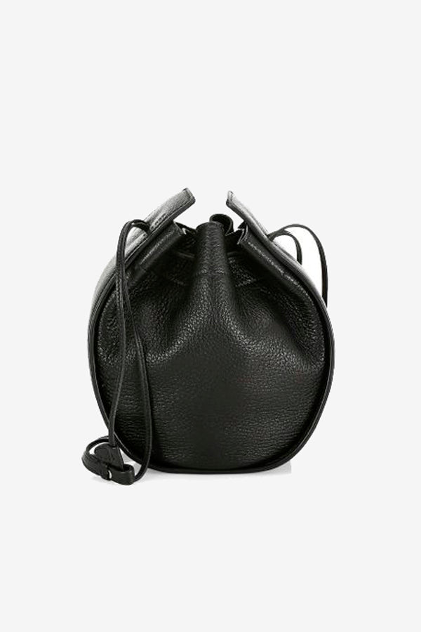 The Row Drawstring Pouch Bag Black leather bag