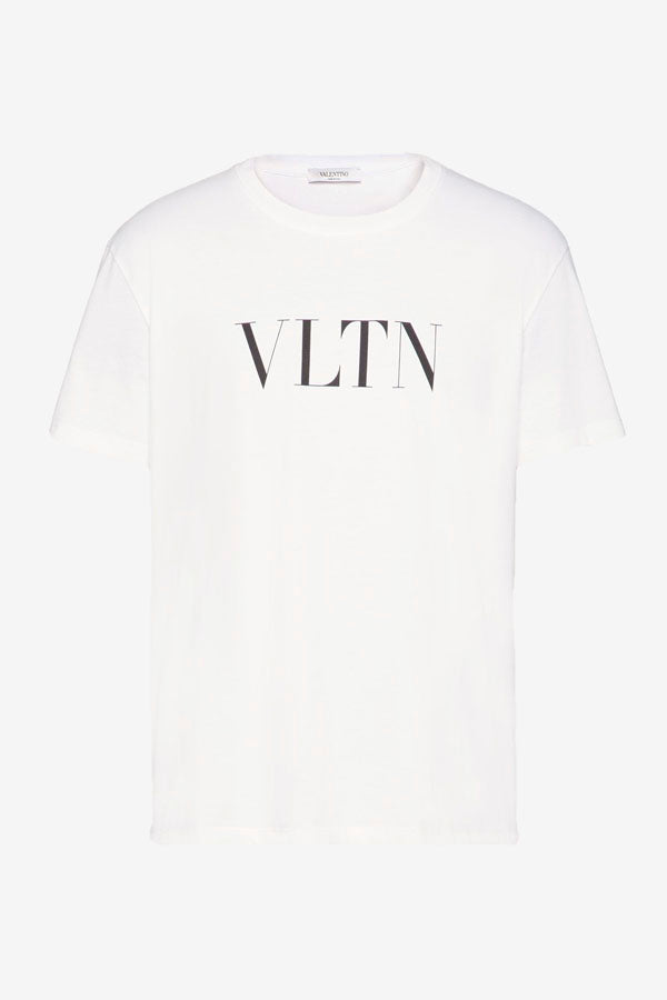 White crew neck t-shirt, in a soft cotton. The front holds the classic Valentino graphic VLTN in a contrast black.