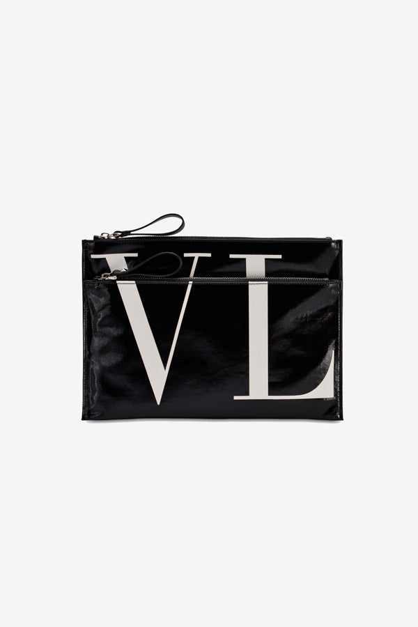 Clutch in black with double zipper compartment. The front and back has large VL text in white.
