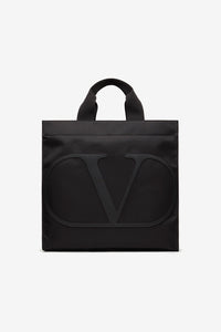 Black nylon tote bag with v logo at the front
