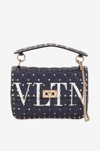 Medium Logo Embellished Stud Bag Navy