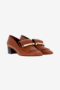 Valentino Gravami Fringe Leather Moccasin Brown
