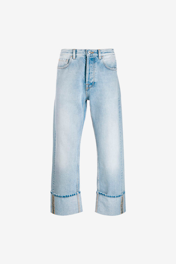 blue washed straight legs with folded hem