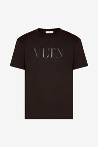 black cotton t-shirt with black VLTN logo