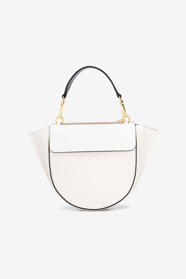 white mini bag with a folded top