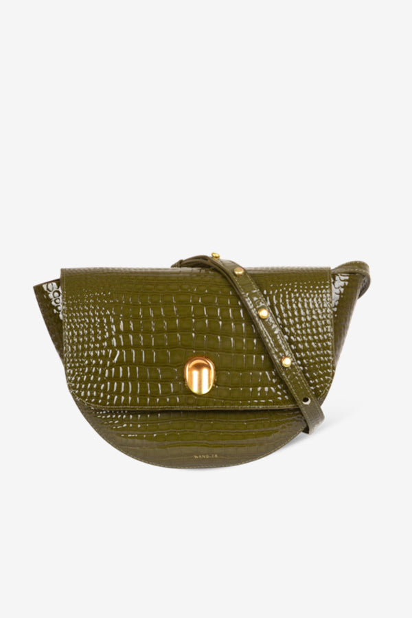 olive green crossover bag with gold hardware and crocodile effect