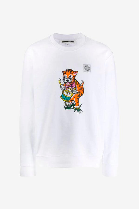 Sweatshirt in white, with a ribbed crew neck, cuff and hem. On the front is graphics of a cat and a small McQ logo patch.